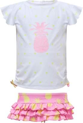 Snapper Rock Pineapple Two-Piece Short Sleeve Ruffle Swimsuit