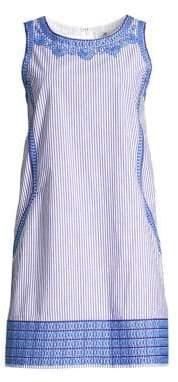 Vineyard Vines Women's Stripe Embroidered Cisco Shift Dress - Ocean Reef - Size 0