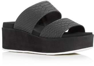 J/Slides Women's Quincy Snake-Embossed Platform Slide Sandals