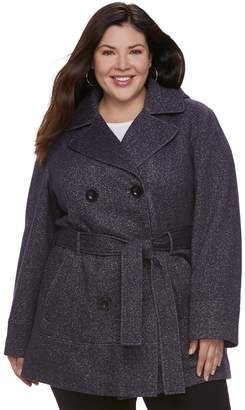 Details Plus Size Hooded Double-Breasted Fleece Jacket