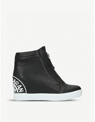 DKNY Connie leather wedge trainers