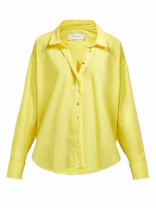 Marques Almeida Marques'almeida - Cuff Ring Twisted Placket Cotton Poplin Shirt - Womens - Yellow