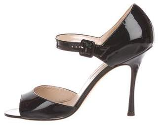 Manolo Blahnik Patent Leather Ankle-Strap Sandals