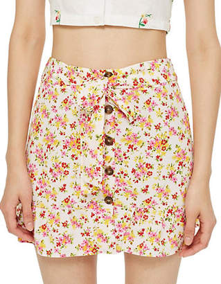 Topshop Floral Tie Button Skirt