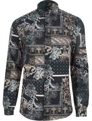 River Island Black baroque print slim fit shirt