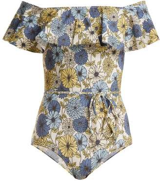 Lisa Marie Fernandez Mira Floral Print Off Shoulder Swimsuit - Womens - Cream Multi