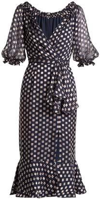Saloni Olivia square-print silk-blend devoré dress