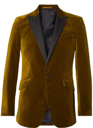 Favourbrook Saffron Slim-Fit Grosgrain-Trimmed Cotton-Velvet Tuxedo Jacket