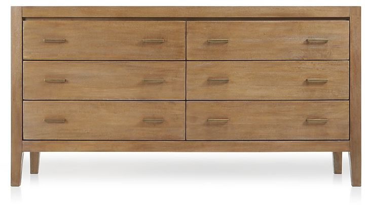 Crate & Barrel Dawson Grey Wash 6-Drawer Dresser
