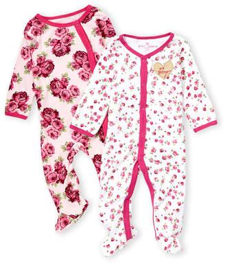 Betsey Johnson Newborn Girls) Two-Piece Rose Print Footie Set