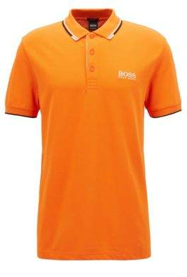 BOSS Hugo Regular fit pique polo shirt quick-dry technology L Orange
