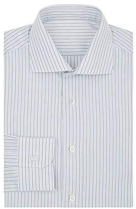 Uman Men's Striped Cotton Poplin Dress Shirt - Green