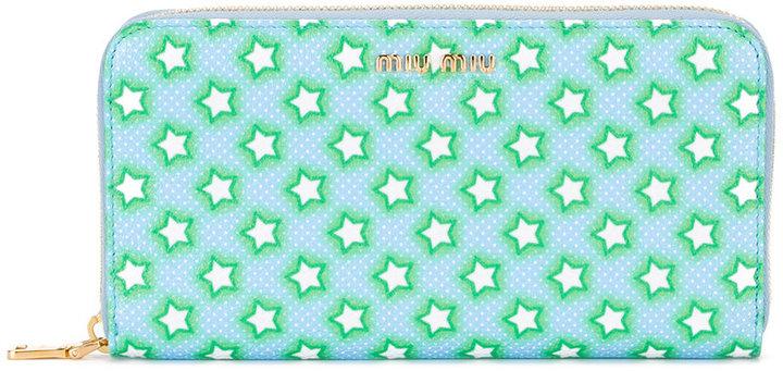 Miu MiuMiu Miu stars zip around wallet