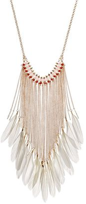 Orange Beaded Feather Fringe Necklace $26 thestylecure.com