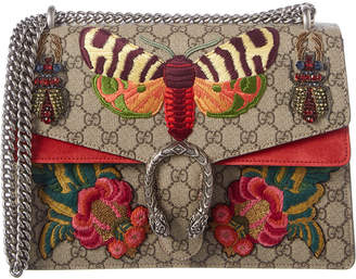 Gucci Dionysus Medium Embroidered Gg Supreme Canvas & Suede Shoulder Bag
