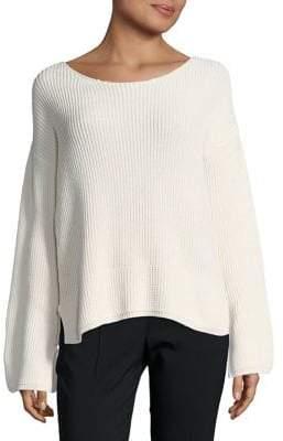 Ellen Tracy Petite Textured Boatneck Cotton Sweater