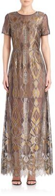 BCBGMAXAZRIA Taliah Metallic Lace Gown $668 thestylecure.com
