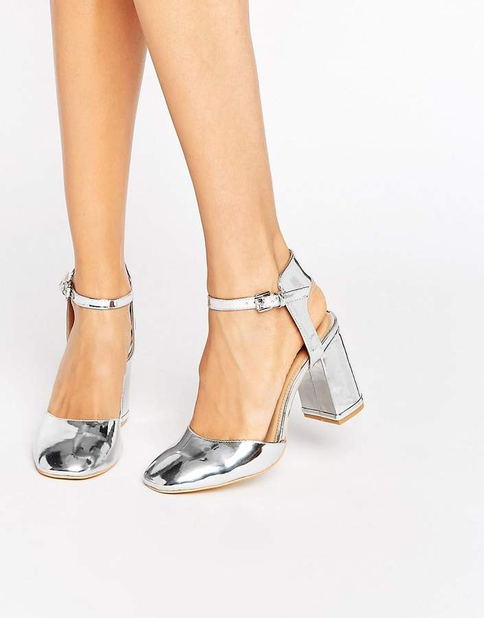 Glamorous Silver Metallic Ankle Strap Heeled Shoes