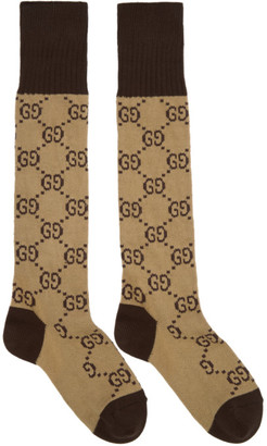 Gucci Beige & Brown Long GG Socks $95 thestylecure.com