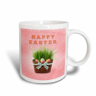 3dRose Three Easter Eggs in Basket of Grass, Happy Easter, Ceramic Mug, 15-ounce