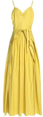 Maison Margiela Pleated Coated Cotton-Canvas Gown