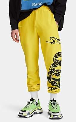 Vetements Men's Snake-Print Cotton Fleece Sweatpants - Yellow