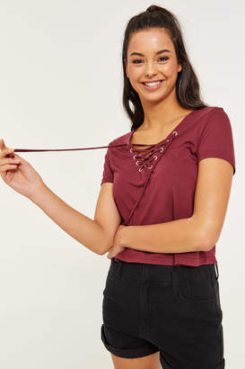 Ardene Laced Front T-Shirt