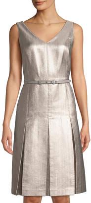 Lafayette 148 New York Lois Metallic Jacquard Pleated Dress