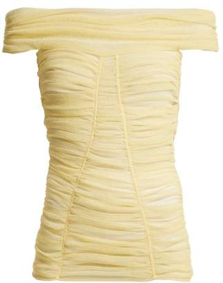 Dolce & Gabbana Off The Shoulder Ruched Sheer Top - Womens - Light Yellow