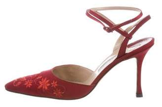Manolo Blahnik Embroidered Ankle-Strap Pumps
