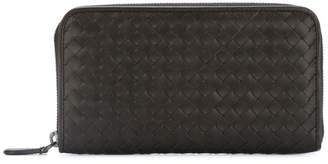Bottega Veneta espresso Intrecciato zip-around wallet