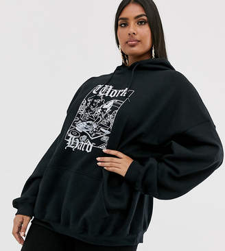 New Girl Order Curve boyfriend hoodie with work hard play hard graphic