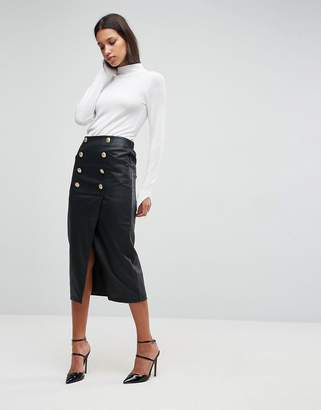 Asos DESIGN Leather Look Pencil Midaxi Skirt with Button Front Detail