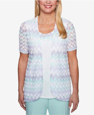 Alfred Dunner Roman Holiday Textured Layered-Look Knit Top