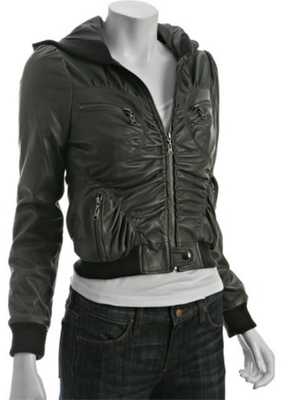 Stella & Jamie grey leather ruched hooded bomber jacket