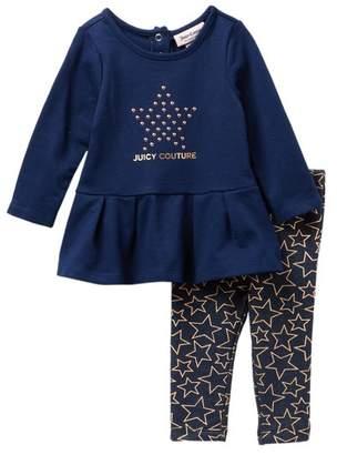 Juicy Couture Star Tunic & Knit Denim Leggings Set (Baby Girls 3-9M)