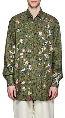 Vetements Men's Paisley & Sticker-Print Cotton Oversized Shirt - Olive