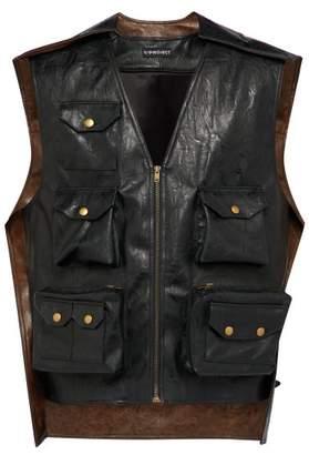 Y/Project Faux Leather Vest - Mens - Black