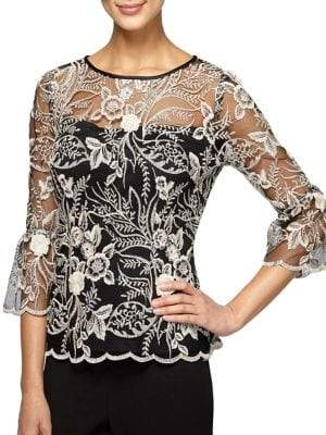 Alex Evenings Plus Floral Embroidered Blouse