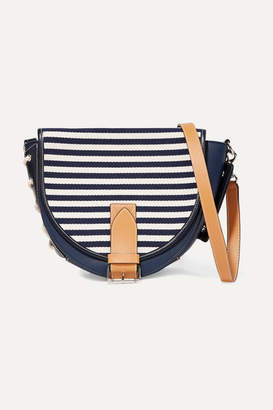 J.W.Anderson Bike Lace-up Leather And Canvas Shoulder Bag - Navy