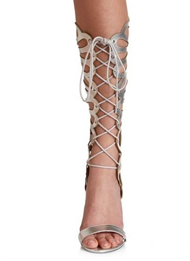 Charlotte Russe Caged Lace-up Metallic Heel