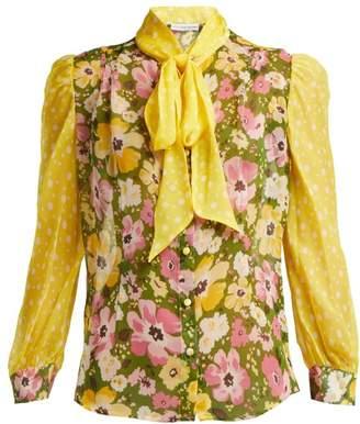 Edeltrud Hofmann - Sofi Pussy Bow Floral Print Silk Blouse - Womens - Green Multi