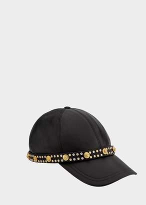 Versace Nappa Leather Stud Cap