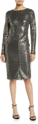 Theia Long-Sleeve Asymmetric Sequin Striped Dress