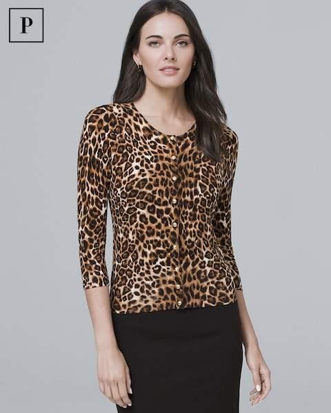 Whbm Petite Three Quarter-Sleeve Leopard-Print Cardigan