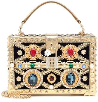 Dolce & Gabbana Dolce embellished leather and velvet clutch