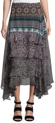 Ella Moss Jacinda Bohemian Tiered Skirt, Black $198 thestylecure.com