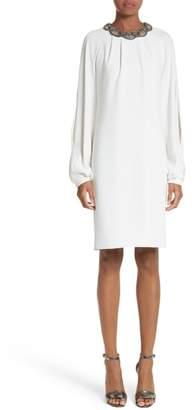 Carmen Marc Valvo Couture Embellished Split Sleeve Shift Dress