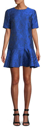 Alice + Olivia Esther Short-Sleeve Ruffle-Hem Tunic Dress