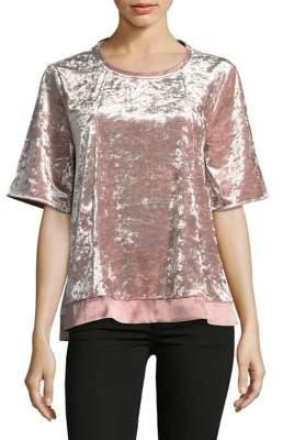 Joan Vass Elbow-length Sleeve Velvet Tee